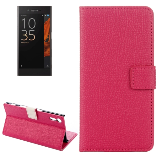 Buy For Sony Xperia XZ Litchi Texture Horizontal Flip Leather Case with Holder & Card Slots & Wallet, Magenta for $2.31 in SUNSKY store