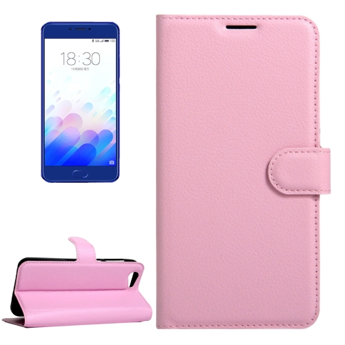 Buy Meizu Meilan X Litchi Texture Horizontal Flip Leather Case with Magnetic Buckle & Holder & Card Slots & Wallet, Pink for $2.28 in SUNSKY store