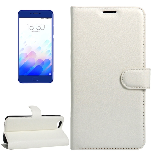Buy Meizu Meilan X Litchi Texture Horizontal Flip Leather Case with Magnetic Buckle & Holder & Card Slots & Wallet, White for $2.28 in SUNSKY store