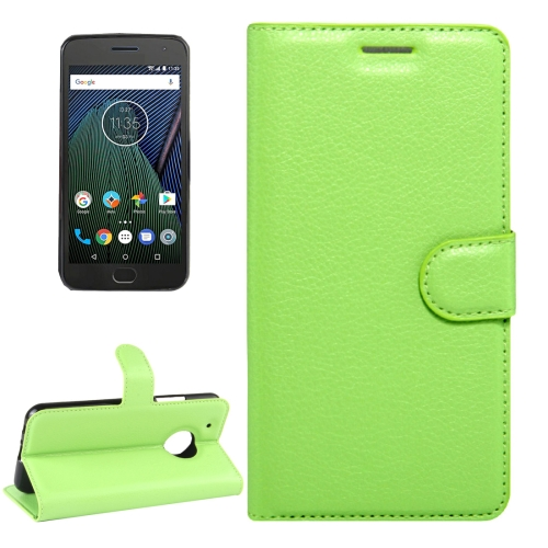 Buy For Motorola Moto G Plus (5th Gen.) Litchi Texture Horizontal Flip Leather Case with Magnetic Buckle & Holder & Card Slots & Wallet, Green for $2.31 in SUNSKY store