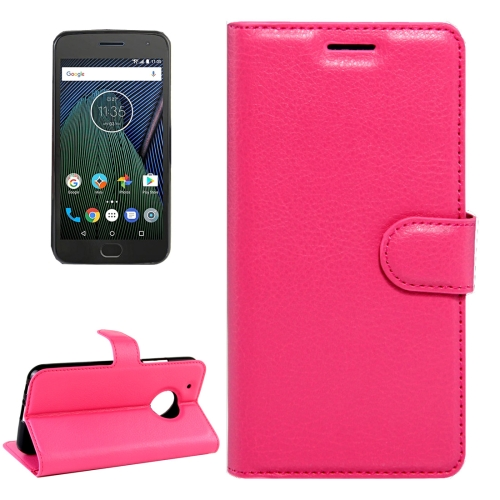 Buy For Motorola Moto G Plus (5th Gen.) Litchi Texture Horizontal Flip Leather Case with Magnetic Buckle & Holder & Card Slots & Wallet, Magenta for $2.31 in SUNSKY store
