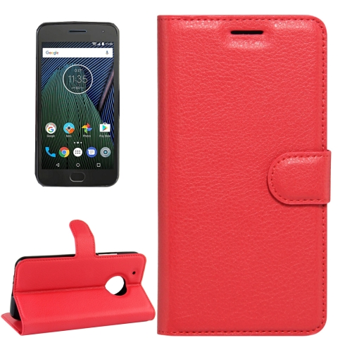 For Motorola Moto G Plus (5th Gen.) Litchi Texture Horizontal Flip Leather Case with Magnetic Buckle & Holder & Card Slots & Wallet, Red