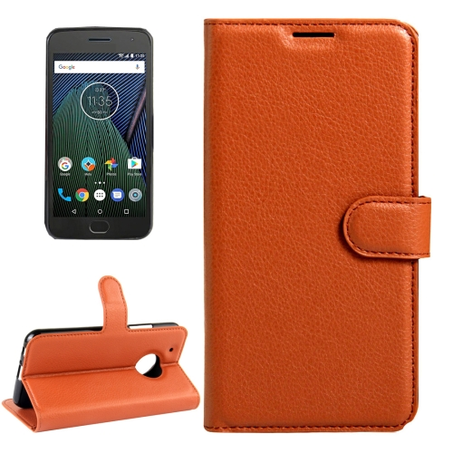 Buy For Motorola Moto G Plus (5th Gen.) Litchi Texture Horizontal Flip Leather Case with Magnetic Buckle & Holder & Card Slots & Wallet, Brown for $2.31 in SUNSKY store