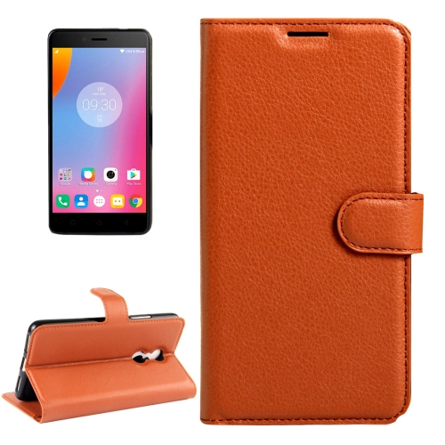 Buy For Lenovo K6 Note Litchi Texture Horizontal Flip Leather Case with Magnetic Buckle & Holder & Card Slots & Wallet, Brown for $2.27 in SUNSKY store