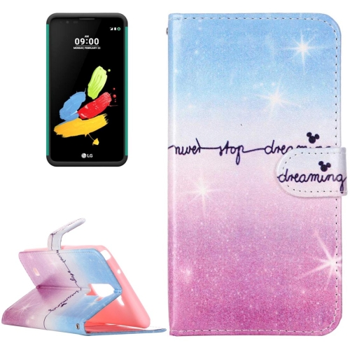 Buy For LG Stylus 2 / LS775 Painting Pink and Blue Dream Sky Pattern Horizontal Flip Leather Case with Holder & Card Slots & Wallet for $2.14 in SUNSKY store