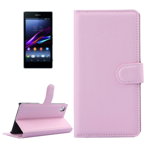 Buy For Sony Xperia Z1 / L39h Litchi Texture Horizontal Flip Leather Case with Holder & Card Slots & Wallet, Pink for $2.28 in SUNSKY store