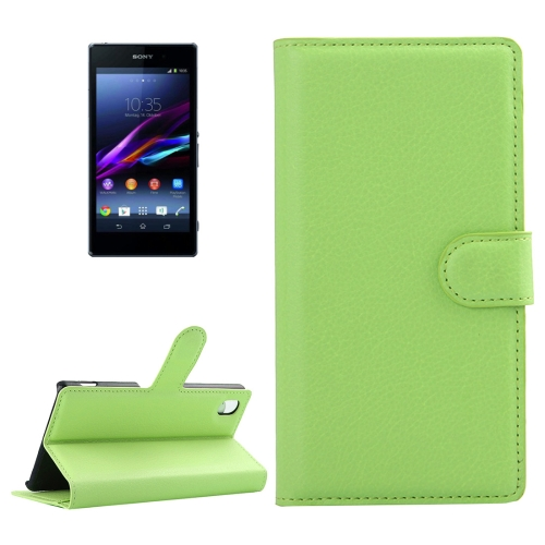 Buy For Sony Xperia Z1 / L39h Litchi Texture Horizontal Flip Leather Case with Holder & Card Slots & Wallet, Green for $2.28 in SUNSKY store