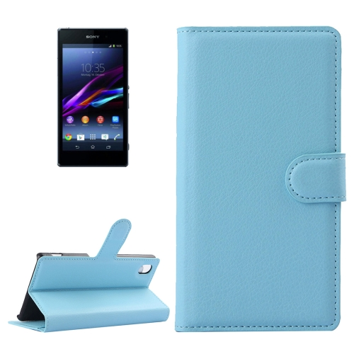 Buy For Sony Xperia Z1 / L39h Litchi Texture Horizontal Flip Leather Case with Holder & Card Slots & Wallet, Blue for $2.28 in SUNSKY store