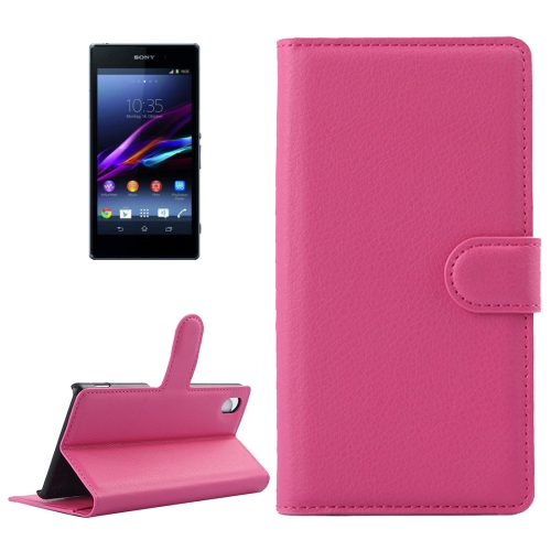 For Sony Xperia Z1 / L39h Litchi Texture Horizontal Flip Leather Case with Holder & Card Slots & Wallet, Magenta