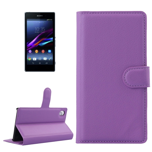 Buy For Sony Xperia Z1 / L39h Litchi Texture Horizontal Flip Leather Case with Holder & Card Slots & Wallet, Purple for $2.28 in SUNSKY store