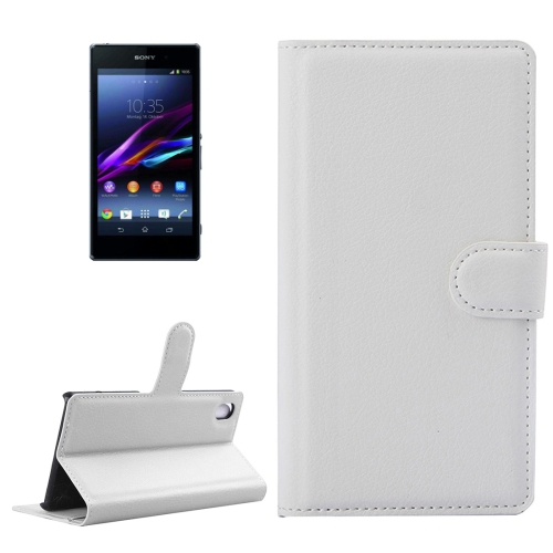 Buy For Sony Xperia Z1 / L39h Litchi Texture Horizontal Flip Leather Case with Holder & Card Slots & Wallet, White for $2.28 in SUNSKY store