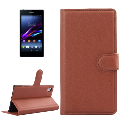 Buy For Sony Xperia Z1 / L39h Litchi Texture Horizontal Flip Leather Case with Holder & Card Slots & Wallet, Brown for $2.28 in SUNSKY store