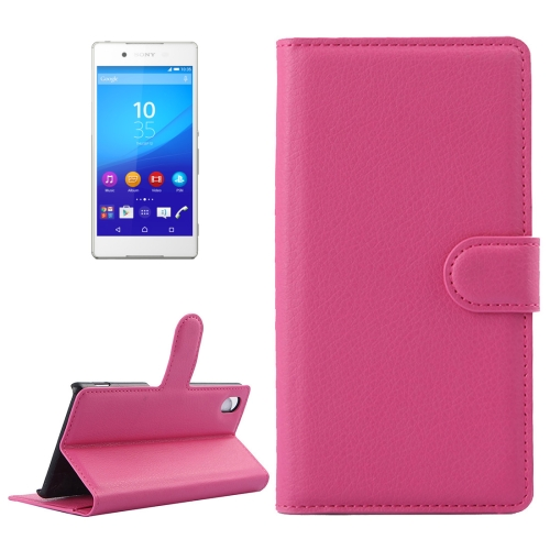 Buy For Sony Xperia Z4 / Z3+ Litchi Texture Horizontal Flip Leather Case with Holder & Card Slots & Wallet, Magenta for $2.28 in SUNSKY store