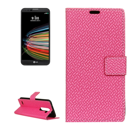 Buy For LG X Mach Knit Texture Horizontal Flip Leather Case with Holder & Card Slots & Wallet & Photo Frame, Magenta for $3.19 in SUNSKY store
