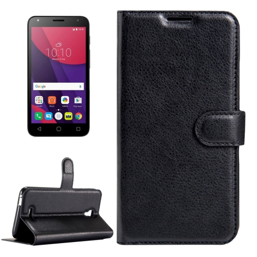 Buy For Alcatel Pixi 4 (5.5) / 5012G / 5012F Litchi Texture Horizontal Flip Leather Case with Magnetic Buckle & Holder & Card Slots & Wallet, Black for $2.32 in SUNSKY store