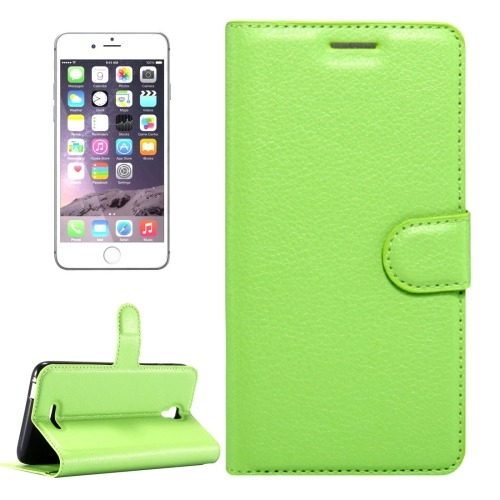 For Alcatel Pixi 4 (5.5) / 5012G / 5012F Litchi Texture Horizontal Flip Leather Case with Magnetic Buckle & Holder & Card Slots & Wallet, Green