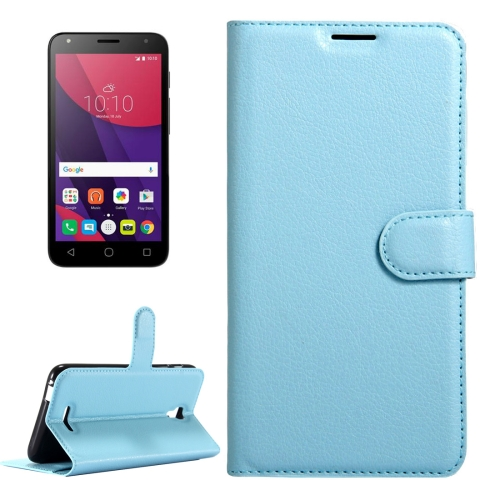 Buy For Alcatel Pixi 4 (5.5) / 5012G / 5012F Litchi Texture Horizontal Flip Leather Case with Magnetic Buckle & Holder & Card Slots & Wallet, Blue for $2.32 in SUNSKY store