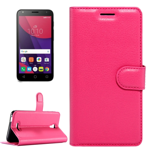 Buy For Alcatel Pixi 4 (5.5) / 5012G / 5012F Litchi Texture Horizontal Flip Leather Case with Magnetic Buckle & Holder & Card Slots & Wallet, Magenta for $2.32 in SUNSKY store