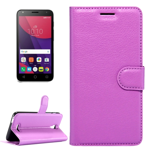 Buy For Alcatel Pixi 4 (5.5) / 5012G / 5012F Litchi Texture Horizontal Flip Leather Case with Magnetic Buckle & Holder & Card Slots & Wallet, Purple for $2.32 in SUNSKY store