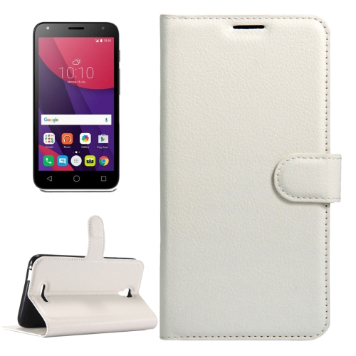 Buy For Alcatel Pixi 4 (5.5) / 5012G / 5012F Litchi Texture Horizontal Flip Leather Case with Magnetic Buckle & Holder & Card Slots & Wallet, White for $2.32 in SUNSKY store