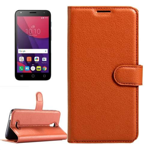 Buy For Alcatel Pixi 4 (5.5) / 5012G / 5012F Litchi Texture Horizontal Flip Leather Case with Magnetic Buckle & Holder & Card Slots & Wallet, Brown for $2.32 in SUNSKY store