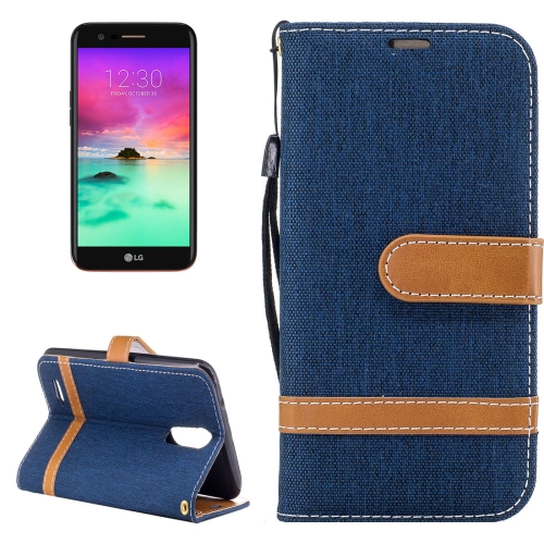 Buy For LG K10, 2017 Denim Texture Leather Case with Holder & Card Slots & Wallet & Lanyard (Dark Blue) for $2.67 in SUNSKY store