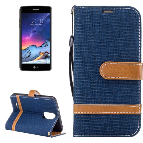 For LG K8, 2017 (EU Version) Denim Texture Leather Case with Holder & Card Slots & Wallet & Lanyard (Dark Blue)