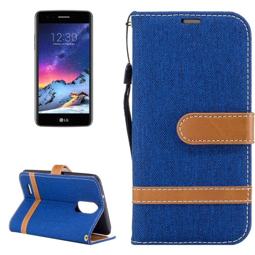 Buy For LG K8, 2017 (EU Version) Denim Texture Leather Case with Holder & Card Slots & Wallet & Lanyard, Blue for $2.68 in SUNSKY store