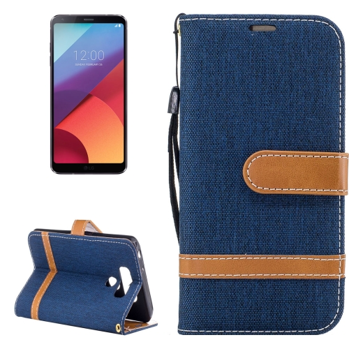 Buy For LG G6 Denim Texture Leather Case with Holder & Card Slots & Wallet & Lanyard (Dark Blue) for $2.67 in SUNSKY store
