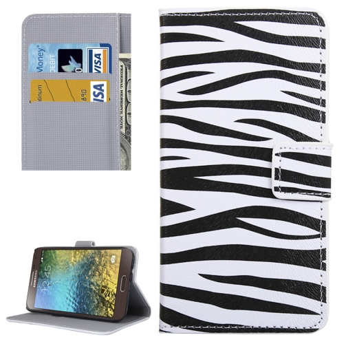 Buy For Samsung Galaxy E5 / E500 Zebra Pattern Leather Case with Holder & Card Slots & Wallet for $2.30 in SUNSKY store