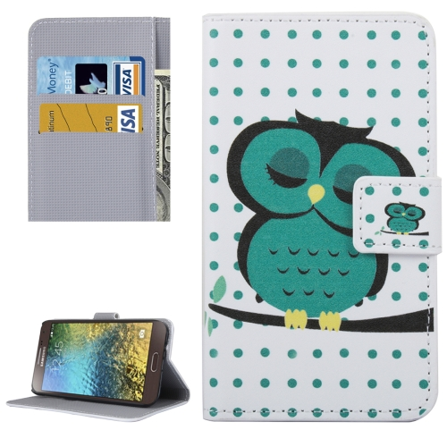 Buy For Samsung Galaxy E5 / E500 Dot and Owl Pattern Leather Case with Holder & Card Slots & Wallet for $2.30 in SUNSKY store