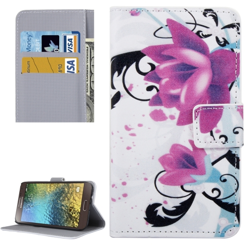 Buy For Samsung Galaxy E5 / E500 Lotus Pattern Leather Case with Holder & Card Slots & Wallet for $2.30 in SUNSKY store