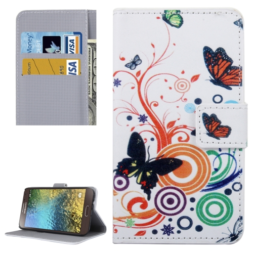 Buy For Samsung Galaxy E5 / E500 White Butterfly Pattern Leather Case with Holder & Card Slots & Wallet for $2.30 in SUNSKY store