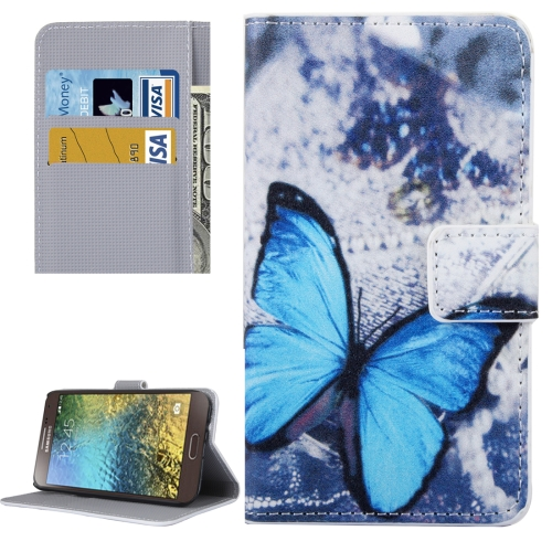 For Samsung Galaxy E5 / E500 Blue Butterfly Pattern Leather Case with Holder & Card Slots & Wallet