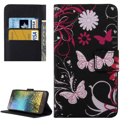 Buy For Samsung Galaxy E5 / E500 Black Butterfly Pattern Leather Case with Holder & Card Slots & Wallet for $2.30 in SUNSKY store