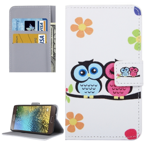 Buy For Samsung Galaxy E5 / E500 Lovers Owl Pattern Leather Case with Holder & Card Slots & Wallet for $2.30 in SUNSKY store