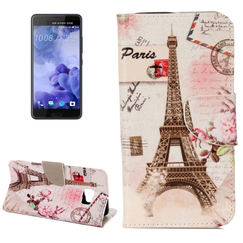 Buy For HTC U Ultra Eiffel Tower Pattern Horizontal Flip Leather Case with Holder & Card Slots & Wallet for $2.19 in SUNSKY store