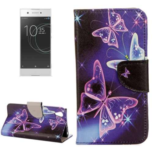 Buy For Sony Xperia XA1 Ultra Purple Crystal Butterflies Pattern Horizontal Flip Leather Case with Holder & Card Slots & Wallet for $2.31 in SUNSKY store