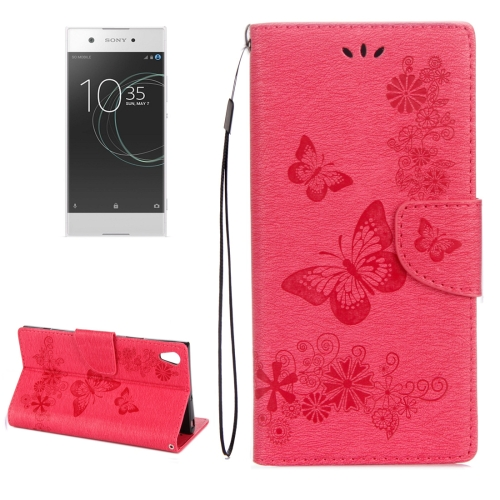 Buy For Sony Xperia XA1 Pressed Flowers Butterfly Pattern Horizontal Flip Leather Case with Holder & Card Slots & Wallet, Red for $2.17 in SUNSKY store
