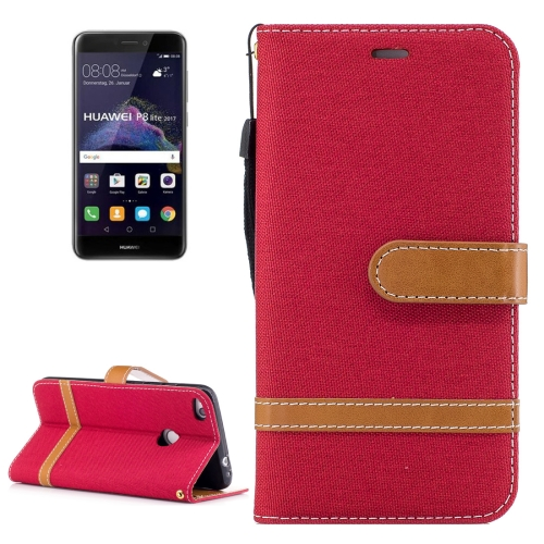 For Huawei P8 Lite(2017)Denim Texture Leather Case with Holder & Card Slots & Wallet & Lanyard, Red
