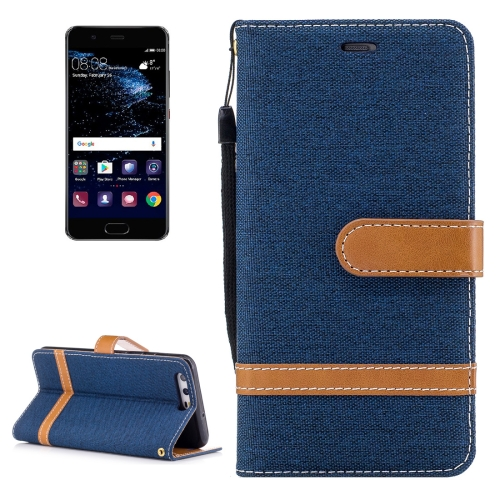 Buy For Huawei P10 Denim Texture Leather Case with Holder & Card Slots & Wallet & Lanyard (Dark Blue) for $2.53 in SUNSKY store
