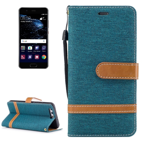 Buy For Huawei P10 Denim Texture Leather Case with Holder & Card Slots & Wallet & Lanyard, Green for $2.53 in SUNSKY store