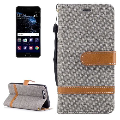 Buy For Huawei P10 Denim Texture Leather Case with Holder & Card Slots & Wallet & Lanyard, Grey for $2.53 in SUNSKY store