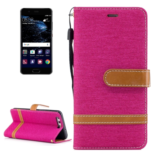 Buy For Huawei P10 Denim Texture Leather Case with Holder & Card Slots & Wallet & Lanyard, Magenta for $2.52 in SUNSKY store