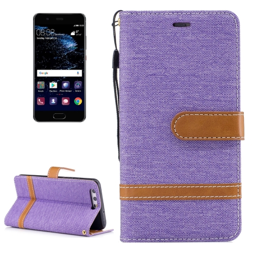 Buy For Huawei P10 Denim Texture Leather Case with Holder & Card Slots & Wallet & Lanyard, Purple for $2.52 in SUNSKY store