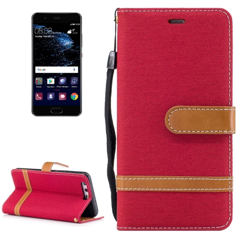 Buy For Huawei P10 Denim Texture Leather Case with Holder & Card Slots & Wallet & Lanyard, Red for $2.52 in SUNSKY store