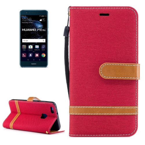 Buy Huawei P10 Lite Denim Texture Leather Case with Holder & Card Slots & Wallet & Lanyard, Red for $2.52 in SUNSKY store