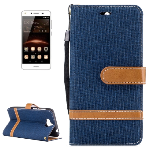 Buy Huawei Y5, 2017 Denim Texture Leather Case with Holder & Card Slots & Wallet & Lanyard (Dark Blue) for $2.67 in SUNSKY store