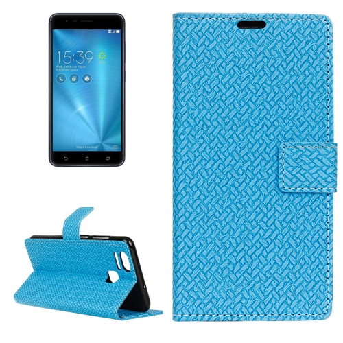 Buy For ASUS ZenFone 3 Zoom / ZE553KL Knit Texture Horizontal Flip Leather Case with Holder & Card Slots & Wallet & Photo Frame, Blue for $3.19 in SUNSKY store