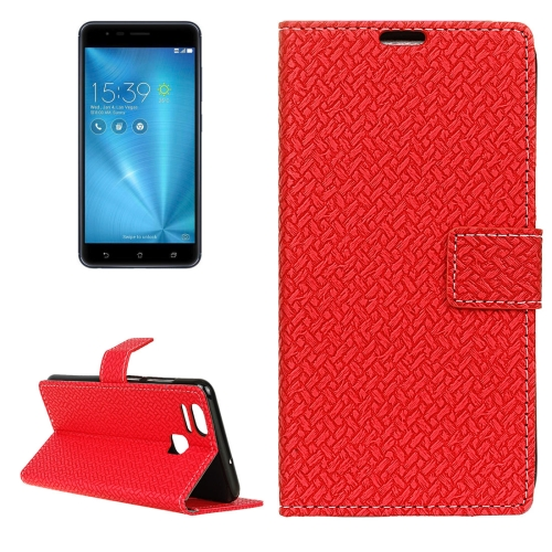 Buy For ASUS ZenFone 3 Zoom / ZE553KL Knit Texture Horizontal Flip Leather Case with Holder & Card Slots & Wallet & Photo Frame, Red for $3.19 in SUNSKY store